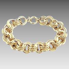 "Stunning Vintage Milor 14 Karat Yellow Gold Handmade 14.00mm Triple Infinity Rolo Link 7.25"" Bracelet Made In Italy."