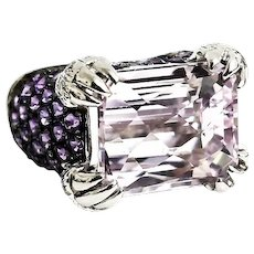 Beautiful Custom Handmade 14 Karat White Gold 13.00 CTW Rose De France Amethyst & Diamond Cocktail Ring. #L882.