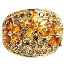 Gorgeous Handmade 14K Yellow Gold 3.00 CTW Yellow Sapphire, Citrine & Champagne Diamond Flower Band. #L878