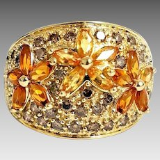 Gorgeous Handmade 14K Yellow Gold 3.00 CTW Yellow Sapphire, Citrine & Champagne Diamond Flower Band. #L878