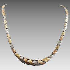 "Gorgeous 10 Karat Tri-color Gold 10mm Tapered Brushed Finish 17"" Necklace. #VN42"
