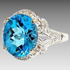 Gorgeous 10 Karat White Gold 6.00 Carat Swiss Blue Topaz And Diamond Ring. #L162.