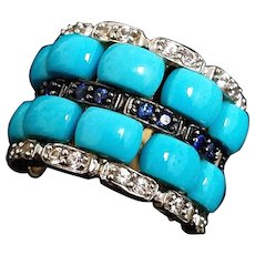 Beautiful 14 Karat Yellow Gold Natural Turquoise, Spinel and Blue Sapphire Ring.
