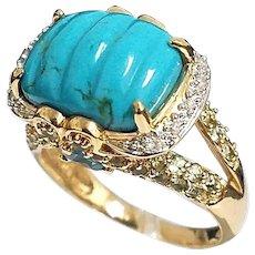 Stunning 14 Karat Yellow Gold Turquoise, Diamond, Blue Topaz and Prasiolite Ring