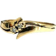 Stunning Handcrafted Delicate 10 Karat Yellow Gold Two Stone Diamond Ring