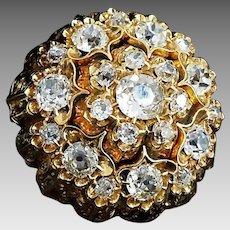 Victorian Era 18 Karat Yellow Gold VS1-SI1 G-H 5.83 CTW Cushion Rose Cut Diamond Filigree Pendant Brooch. #VC18