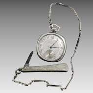 Antique 14 Karat White Gold Waltham Pocket Watch, 14K White Gold Liberty Fob Chain and Knife. #V16.
