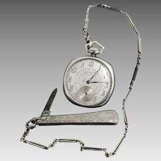 Antique 14 Karat White Gold Waltham Pocket Watch, 14K White Gold Liberty Fob Chain and Knife. #V16.