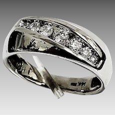 Gorgeous Gents 14 Karat White Gold SI1 G-H 3/4 CTW Diamond 8.75mm Wedding Band. #VR48