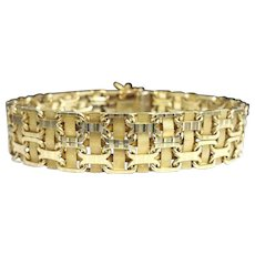 "Stunning Handcrafted Custom Solid 14 Karat Yellow Gold 13.25mm Woven Bismark Link 7.50"" Bracelet."
