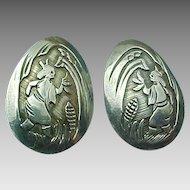 Sterling Silver Corn Pueblo Story Teller POST Earrings