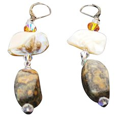 Sterling Silver Pierced Long Dangle Agate, Mother Of Pearl, Crystal Earrings