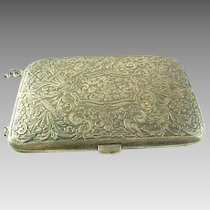 Antique Sterling Silver Hand Engraved Cigarette Case With Chain