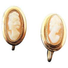 Beautiful Gold Filled Screw Back Cameo Earrings