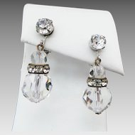 Vintage Castlecliff Rhinestone Clip On Earrings