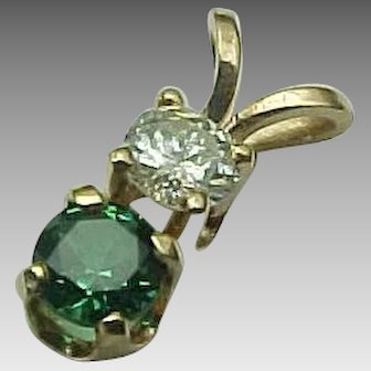 14K Yellow Gold Emerald & Diamond Pendant
