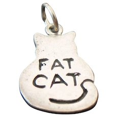 Vintage Sterling Silver, Fat Cat Charm