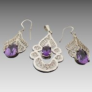 Sterling Silver Filigree Pear Shape Amethyst Pendant & Pierced Dangle Earrings