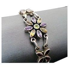 Sterling Silver Multi Gemstone Flower Bracelet