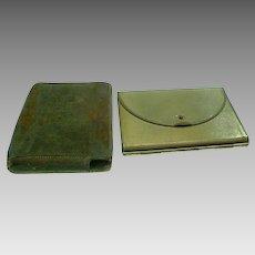 Vintage Mirrored Gold Tone Powder Compact - Circa 1920's
