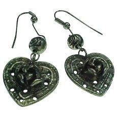 Estate Heart & Flower Pierced Dangle Earrings
