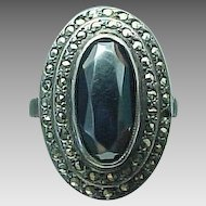 Vintage Sterling Silver Hemitate & Marcasite Ring