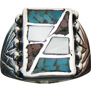 Sterling Silver Inlaid Turquoise, Mother Of Pearl & Coral Ring