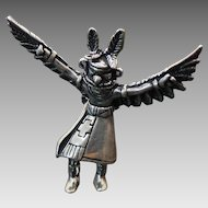 Vintage Sterling Silver Solid Winged Kachina Dancer Pendant ~ Signed~