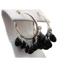 Sterling Silver Multi Dangle Onyx Pierced Hoop Earrings