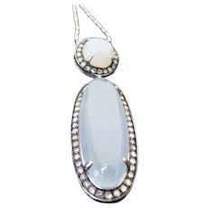 Sterling Silver Chalcedony & Diamond Pendant/Necklace