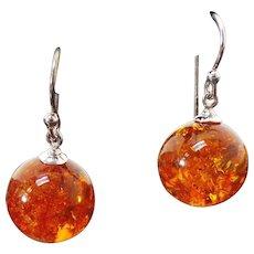 Sterling Silver Pierced Drop Amber Earrings