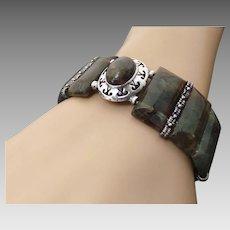 Sterling Silver Stretchy Labradorite Bracelet ~ Circa 1995