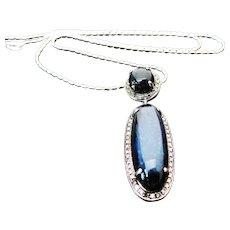 Sterling Silver Blue Chalcedony & Diamond Pendant/Necklace