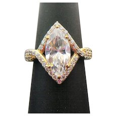 Sterling Silver 3.00 Carat Marquise and Round Simulated Diamond Engagement Ring