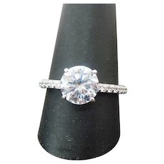 Vintage Sterling Silver 3.00 Carat Round Simulated Diamond Engagement Ring