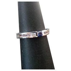 Sterling Silver Blue Spinel & Faux Diamond Band
