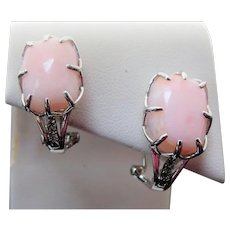 Vintage Sterling Silver Rose Quartz & Topaz Pierced Earrings