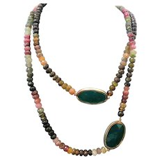 "Multi Color Tourmaline & Green Agate Necklace ~ 36"""