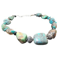 Sterling Silver Ajax Turquoise Nugget & Smoky Quartz Necklace