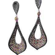 Sterling Silver Multi Color Sapphire & Black CZ Pierced Dangle Earrings