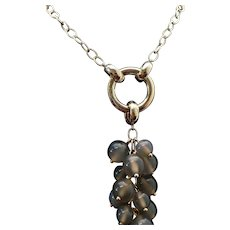 "Sterling Silver /Vermeil Gray Quartz Cluster Necklace 38"" Length"