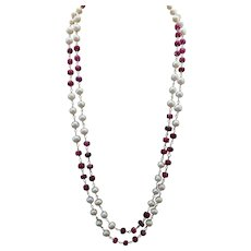 Sterling Silver/Vermeil Ruby Pearl Necklace 36""