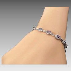 Sterlng Silver Color-Changing Fluorite 4.25 Carat Bracelet