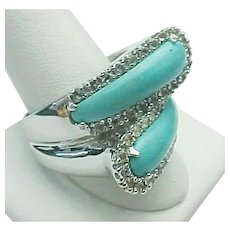 Sterling Silver Sleeping Beauty Turquoise & White Topaz Bypass Ring