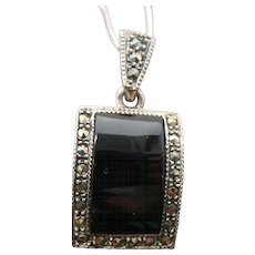 Sterling Silver Marcasite /Onyx Necklace
