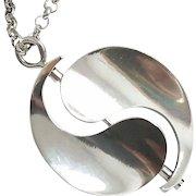 "Bent K Knudsen Denmark Mid-Century Modernist Sterling Silver Pendant & 20"" Chain ~ Movable ~"