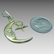Vintage Sterling Silver/Vermeil Moon & Star Pendant