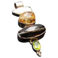 Vintage Sterling Silver Multi Gemstone Large Pendant