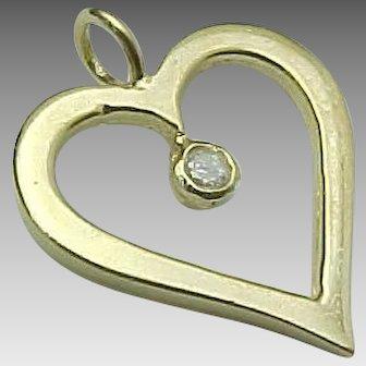 14k Yellow Gold Diamond Open Heart Pendant