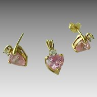 Vintage 10K Gold Created Pink And White Sapphire Heart Pendant & Earring Set